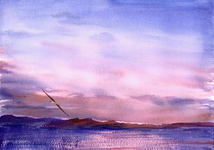 Watercolor Painting of Sunset, Beagle Channel, Tierra del Fuego