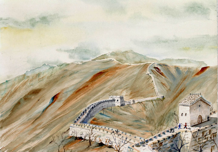 Watercolor Painting of Great Wall