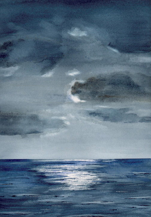 Watercolor Painting of Moon Over Indian Ocean