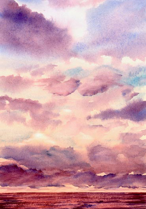 Watercolor Painting of Sunset over Indian Ocean