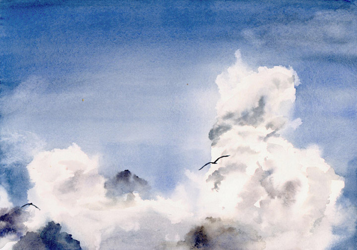 Watercolor Painting of Lake Superior Sky