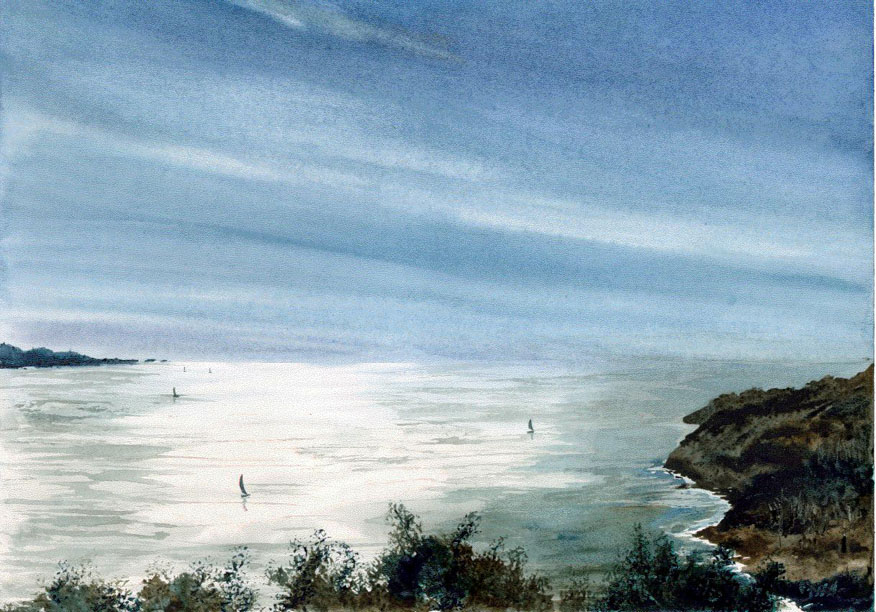 Watercolor Seascape Painting, Marin Headland, California
