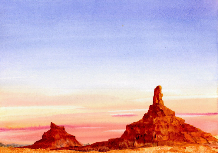 Watercolor Painting of Monument Valley