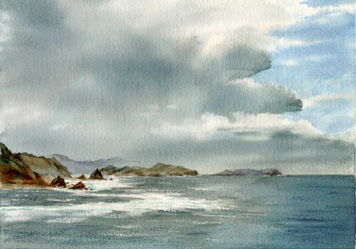 Watercolor Painting of Storm at Pago Pago, Samoa