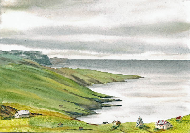 Watercolor Painting of Shetland Islands, Scotland