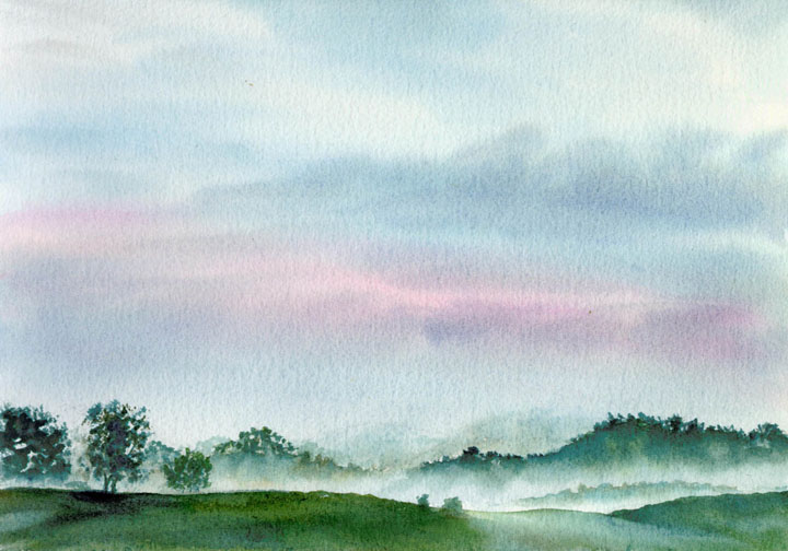 Watercolor Painting of Smokey Mountains