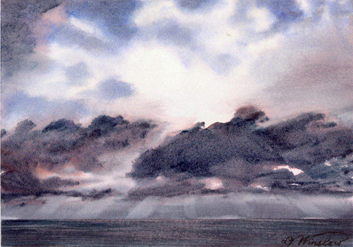 Watercolor Painting of Sky over South China Sea