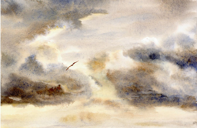 Watercolor Sky Painting, Storm Clouds