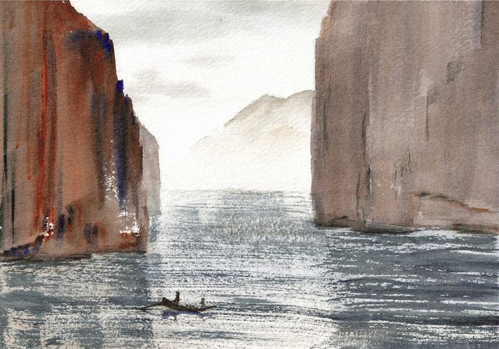 Watercolor Painting of Three Gorges, Yangtze River, China
